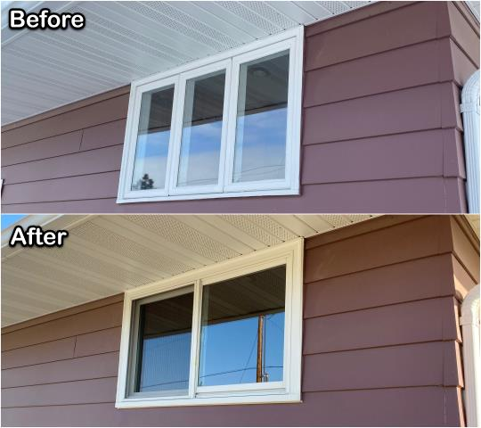 Denton, MT - This Denton homeowner replaced these old casement windows with a new Gliding window from RbA!