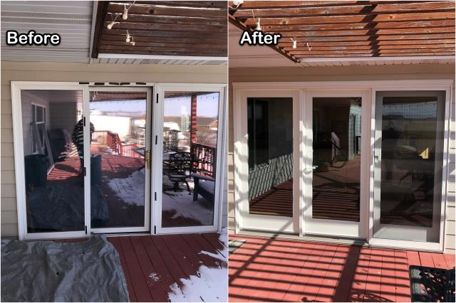 Great Falls, MT - We replaced this old sliding door with a new RbA French patio door on this home in Great Falls.