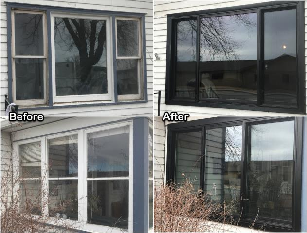Stevensville, MT - We replaced several types of windows for this homeowner in Stensville with new Black RbA Fibrex® windows for an updated and sharp look!