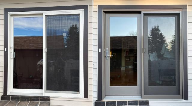 Great Falls, MT - This home in Great Falls, MT upgraded their Patio Door to our Energy Efficient Fibrex Sliding Glass Patio Door!