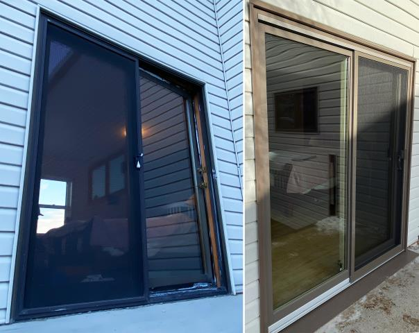 Helena, MT - This Helena, MT home upgraded their windows and patio door to our Energy Efficient Fibrex windows and patio door!