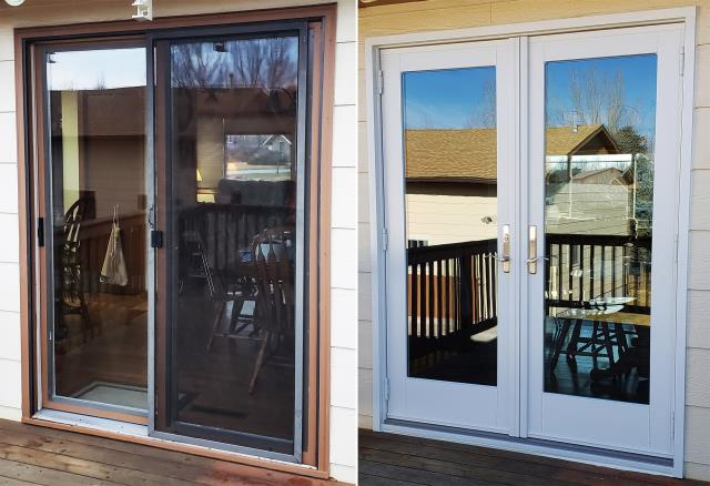 Billings, MT - This Billings, MT home upgraded their windows and patio door to our Energy Efficient Fibrex Windows and French Style Patio Door!