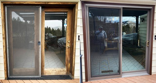 Helena, MT - This Helena, MT home upgraded their windows and patio door to our Energy Efficient Fibrex Windows and Sliding Glass Patio Door!