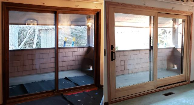 Billings, MT - This Billings, MT home upgraded their windows and patio door to our Energy Efficient Fibrex Windows and Sliding Glass Patio Door!