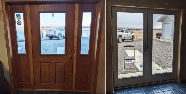Great Falls, MT - This Great Falls, MT home upgraded their patio door to our Energy Efficient Fibrex French Style Patio Door!