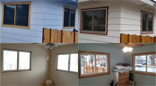 Missoula, MT - These Missoula customers replaced these old windows with new RbA Fibrex® Gliders!