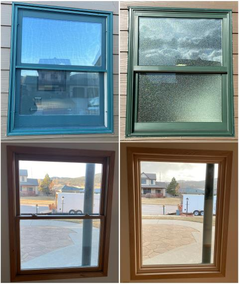 Sturgis, SD - We replaced these windows in Sturgis with new Fibrex® double hung & picture windows!
