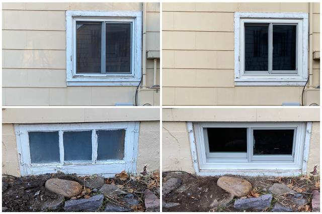 Kalispell, MT - We replaced these old wooden windows with new energy efficient RbA Fibrex® Windows for this homeowner in Kalispell!!