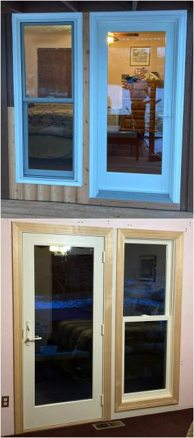 Missoula, MT - We replaced an old patio door and window with these new RbA French Patio Door & Fibrex® Double Hung window for this customer in Missoula!