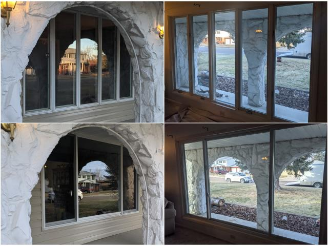 Great Falls, MT - We changed these old casement windows with larger sliding/picture window combo for this homeowner in Great Falls!