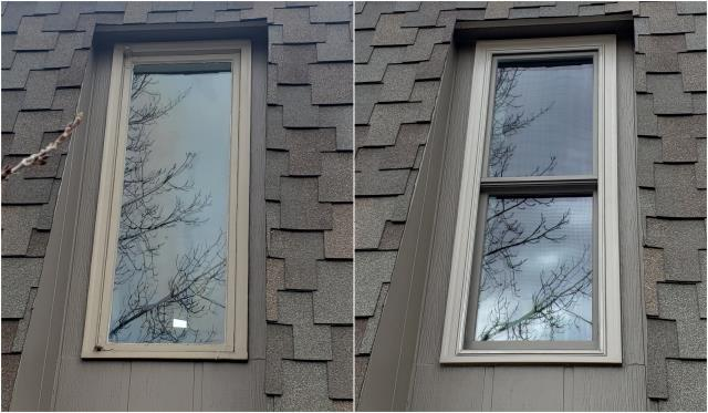 Billings, MT - We replaced this old wooden casement window with this sharp RbA Fibrex® Double-Hung Window for this customer in Billings!
