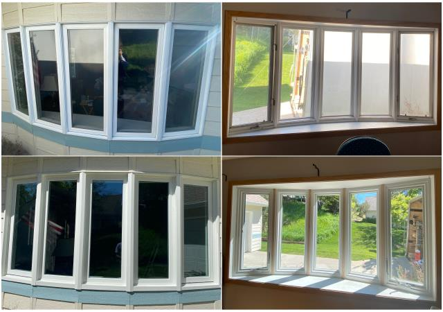 Helena, MT - We replaced this old bow window with this beautiful new RbA Fibrex® Bow for these customers in Helena!