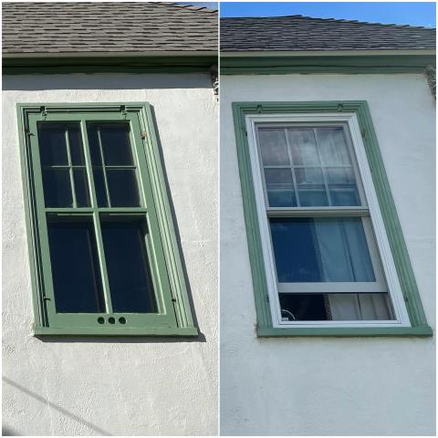 Helena, MT - We replaced old wooden windows with new Fibrex® Double-Hung Windows on this home in Helena!