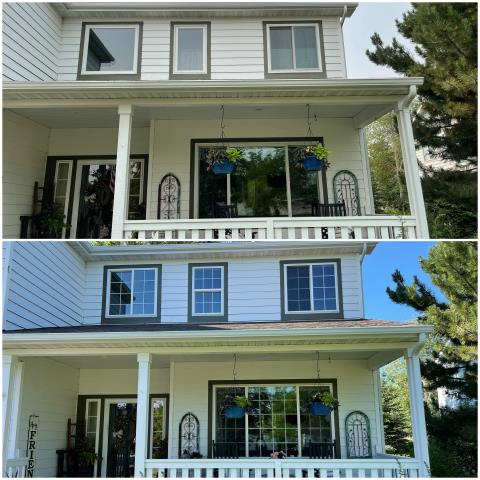 Bozeman, MT - Gorgeous upgrade done with our Gliding RbA Fibrex® windows with a beautiful white trim & white colonial grille pattern!