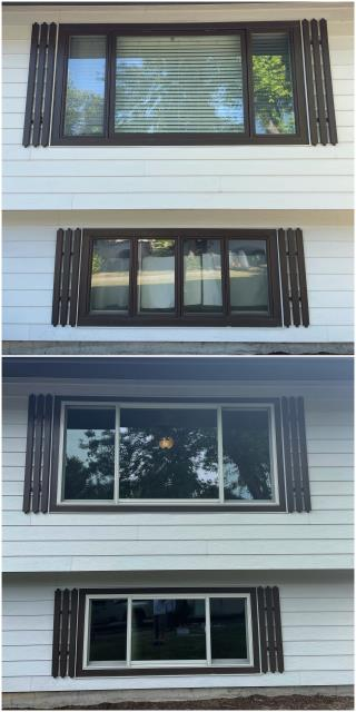 Great Falls, MT - We upgraded these old windows to our RbA Fibrex® Gliding Triple windows with a beautiful white trim!
