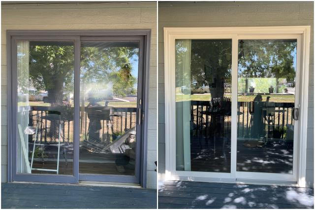 Great Falls, MT - We upgraded this old sliding door in Great Falls to our Perma-Shield® Gliding Patio Door with a gorgeous white trim!