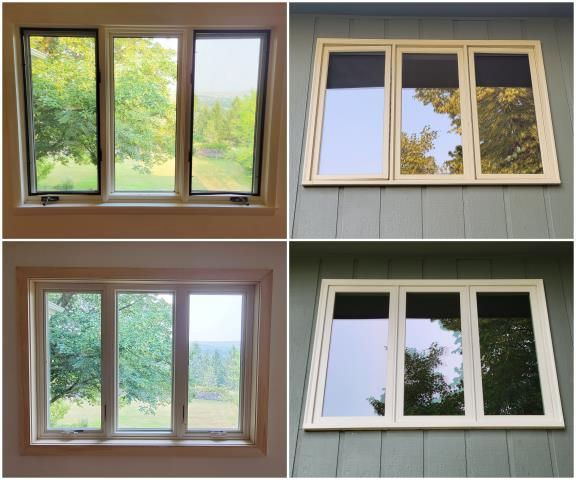 Missoula, MT - We upgraded these old casement windows to our RbA Fibrex® Casement windows with a beautiful real oak interior trim and white exterior trim.