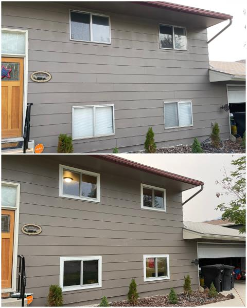Butte, MT - We replaced these old windows in Butte with our RbA Fibrex® gliding windows finished with a white exterior trim.