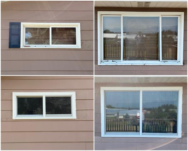 Kalispell, MT - Amazing transformation done in Kalispell! We replaced these old windows to our RbA Fibrex® Gliding windows finished with a beautiful white exterior trim!