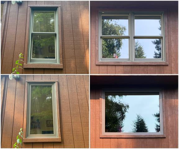 Kalispell, MT - We replaced these old windows in Kalispell with our RbA Fibrex® picture windows with a terratone exterior trim!