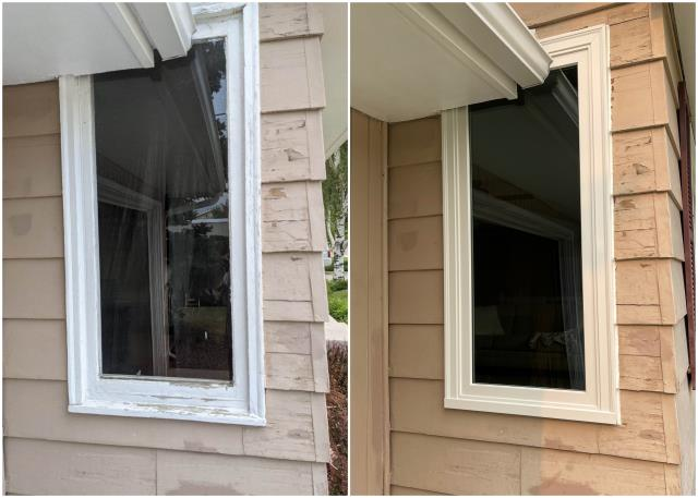 Helena, MT - Amazing replacement done in Helena! These folks upgrade to our RbA Fibrex® picture window with a gorgeous white exterior trim!