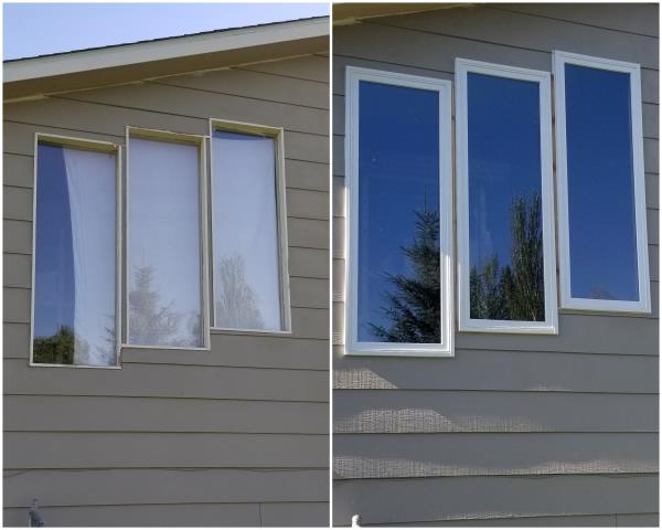 Missoula, MT - Gorgeous upgrade done in Missoula! We replaced these old windows to our RbA Fibrex® picture windows with a white exterior trim!