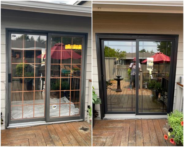 Billings, MT - WOW! Beautiful upgrade done here in Billings! We took out this old sliding door and installed this gorgeous Perma-Shield® Gliding Patio Door with black Modified Prairie grille & black exterior trim!