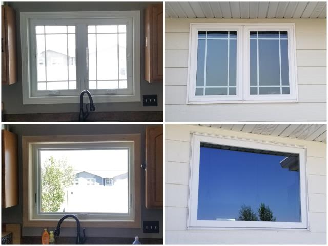 Great Falls, MT - What a better view! We replaced this old window in Great Falls with our RbA Fibrex® picture window with a white exterior trim and real pine interior finish!