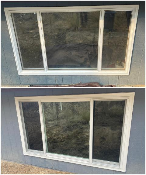 Helena, MT - Great replacement done in Helena! We took out this old window and put in a beautiful RbA Fibrex® Gliding Triple Window with a white exterior trim finish!