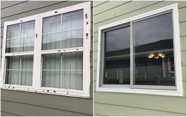 Billings, MT - We replaced this old and damaged window in Bridger with our RbA Fibrex® Gliding window with a Fiberglass Insect Screen.