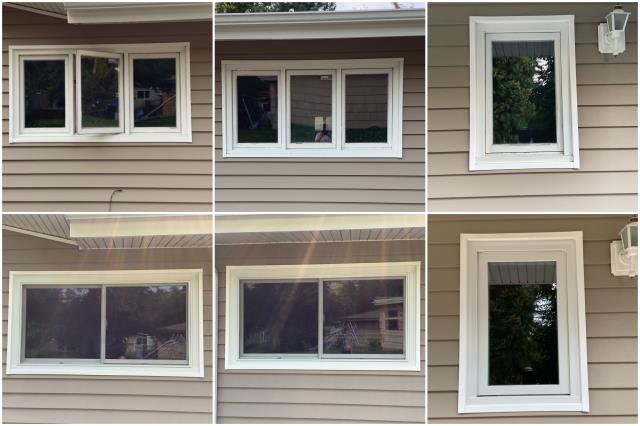 Billings, MT - WOW! What a beautiful upgrade done in Billings! We replaced these old casement windows with our RbA Fibrex® Gliding & Picture windows finished with a complimenting white exterior trim.