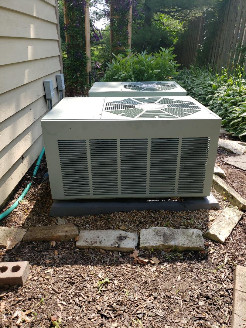Glenview, IL - AC tune-up on two air conditioners located near Glenview Illinois. Recharge with Freon refrigerant. Needed contactor.  North Shore Heating and Cooling are experts in ac service and ac repair near you. Call 847-729-1040 today to schedule an appointment for a air conditioner tune-up, air conditioning repair or a free estimate on an ac replacement. You can also check-out our special offers at www.northshoreheatingandcooling.com/special-offers