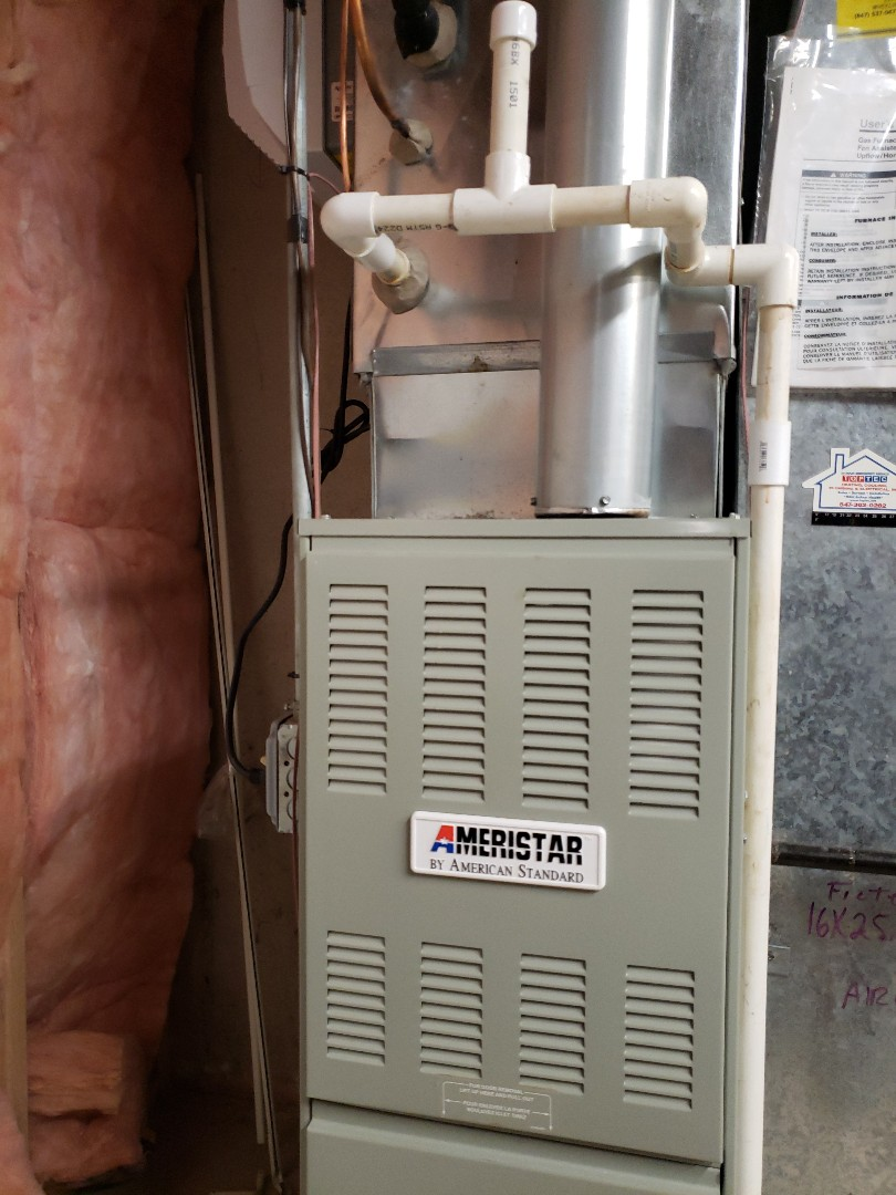 Furnace maintenance and safety tune-up on Ameristar American Standard furnace located in Deerfield Illinois. Check furnace filter. Recommend furnace filter replacement. Located near you in Glenview Illinois North Shore Heating and Cooling can provide you with furnace service, furnace repair and free estimates for furnace replacement. We are experts in furnace installation and furnace maintenance. We are located near you serving the towns of Northbrook, Highland Park, Deerfield, Riverwoods, Lincolnshire, Glenview, Golf, Wilmette, Winnetka, Northfield, Call today at 847-729-1040 or visit us at www.northshoreheatingandcooling.com