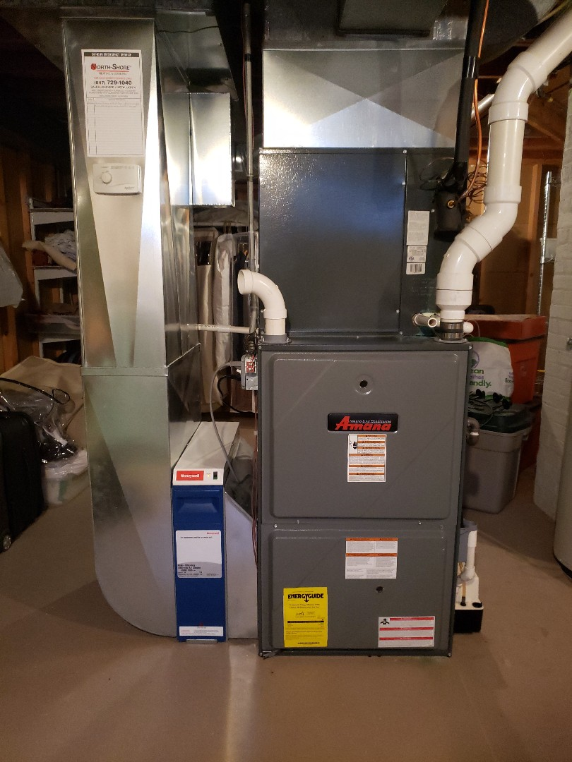 Furnace service repair on Amana furnace located near you in Wilmette Illinois. Replace April Aire humidifier filter pad. Replace Amana inducer motor. Replaced condensate pump. North Shore Heating and Cooling located near you in Glenview Illinois is you local HVAC contractor. We are experts in furnace service and furnace repair in Glenview and surrounding area. Call today at 847-729-1040 or visit us at www.northshoreheatingandcooling.com