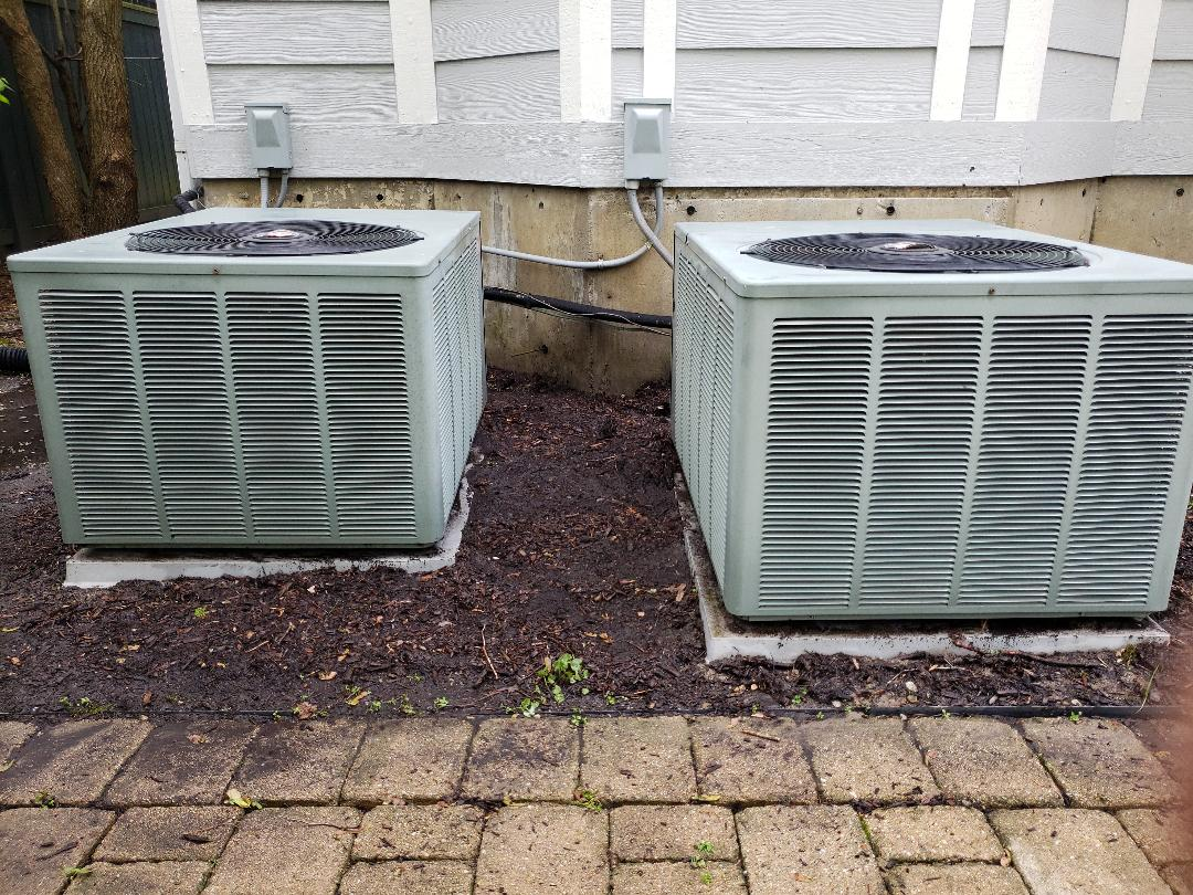 Winnetka, IL - Perform Furnace tune up on two Rheem Furnaces and ac tune on two Rheem air conditioners located in Winnetka Illinois. Humidifier maintenance on Aprilaire humidifier and replace humidifier filter pad. Clean electronic air cleaner cells and pre-filter. North Shore Heating and Cooling the best HVAC contractor located near you in Glenview Illinois. We are experts in furnace repair and air conditioner repair as well as ac repair, air conditioner installation, ac replacement  and furnace replacement. Call us today at 847-729-1040 and visit our website for special offers and coupons for big savings at www.northshoreheatingandcooling.com/special-offers