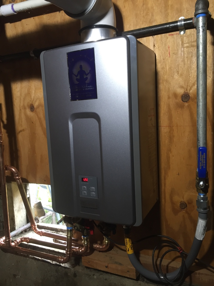 Berkeley, CA - Provide and install a Rinnaii RL75i tankless water heater in place of existing TK4 unit in basement location on Avon Rd. in Berkeley CA