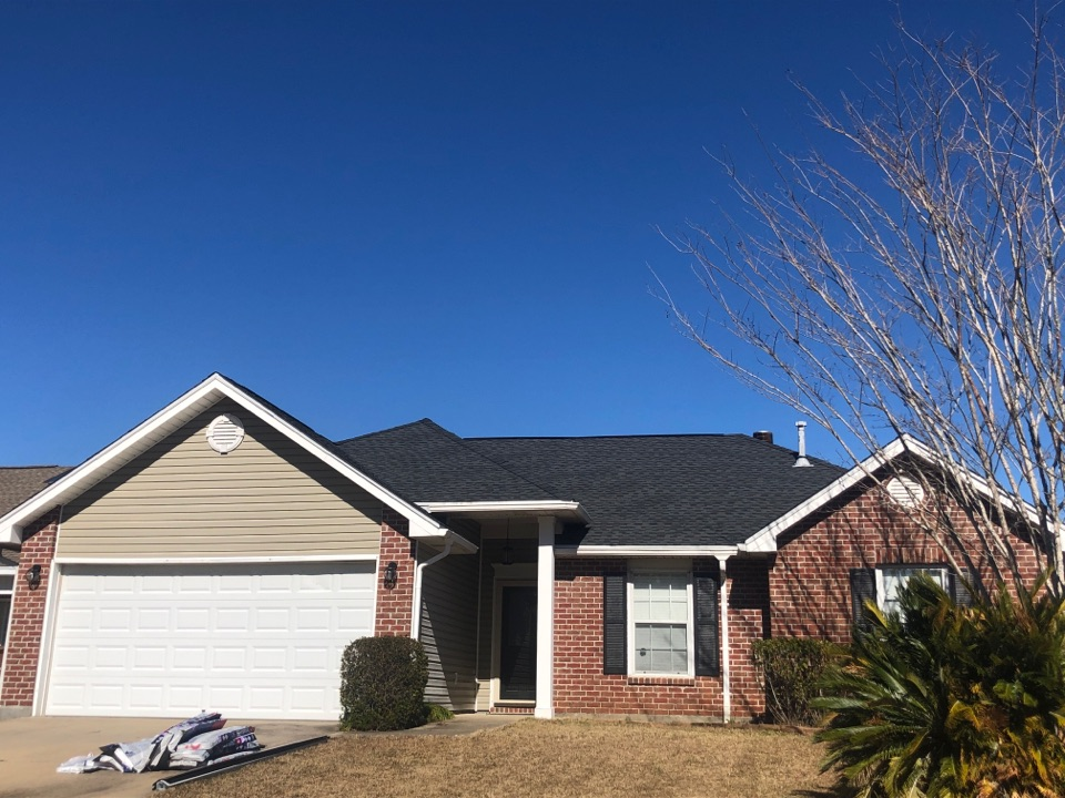 Gulfport, MS - B&M Roofing. This beautiful one story home had severe roof damage from hurricane Zeta. The wind gust blew off the three tab shingles that were previously there. Our company used architectural GAF charcoal shingles to bring their roof back to life with a 50 year warranty. This neighborhood is very welcoming and the neighbors are beyond friendly.