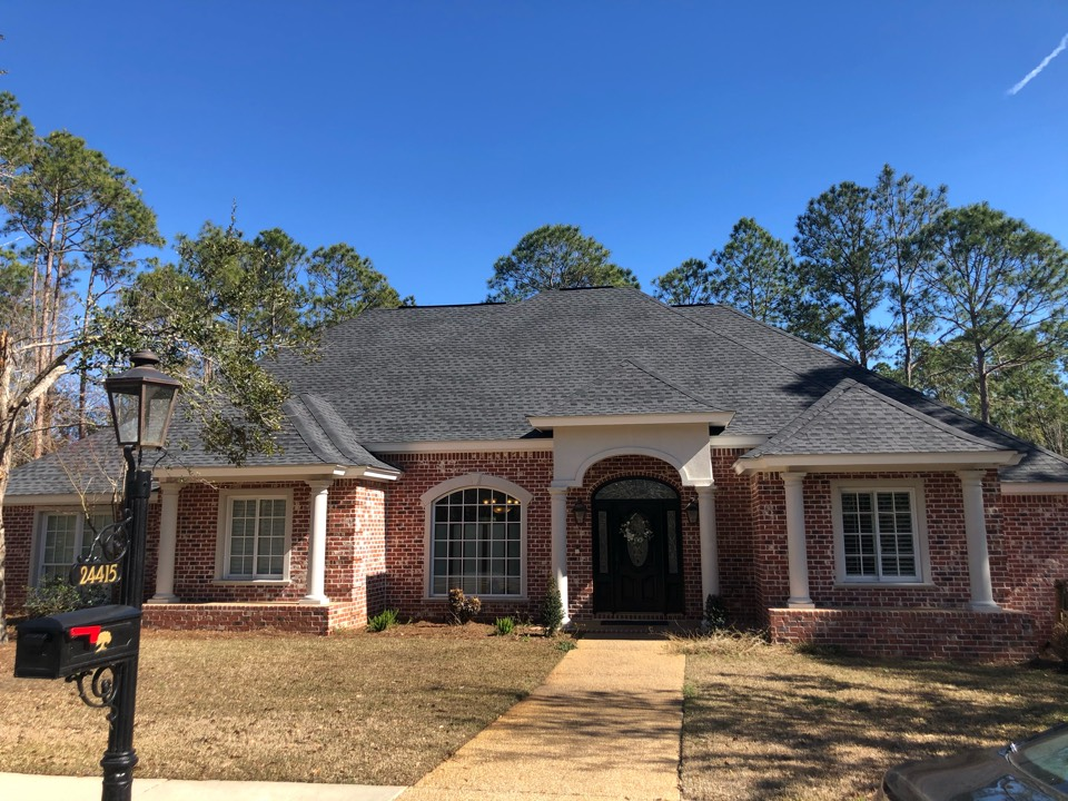 Pass Christian, MS - This absolutely gorgeous home had significant roof damage from hurricane Zeta. B&M roofing was able to come give them a full re-roof with GAF timberline HDZ architectural shingles in charcoal.