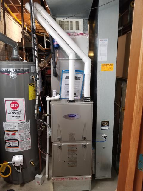 Johnstown, OH - I provided a diagnostic on a 2018 Carrier gas furnace that is not blowing heat. I cut back the fresh air intake so the termination kit fits on the correct way.