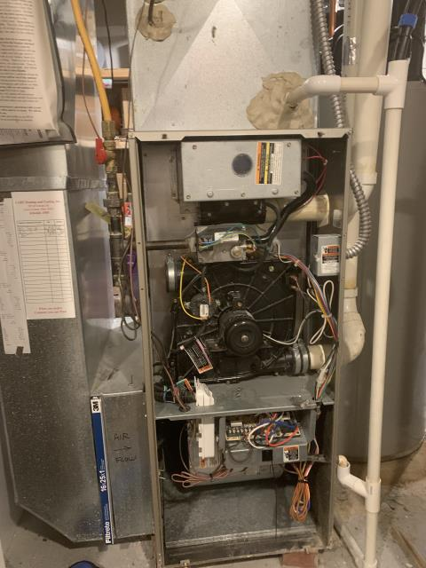 Pataskala, OH - During a tune-up I replaced the humidifier pad, cleaned humidifier and furnace and replaced inducer capacitor. All working properly at time of departure.
