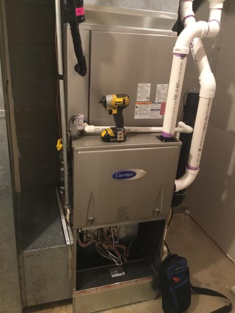 Pataskala, OH - I found that the filter was very dirty and not allowing the air to flow correctly. I changed the filter and 2018 Carrier gas furnace was working properly at time of departure .