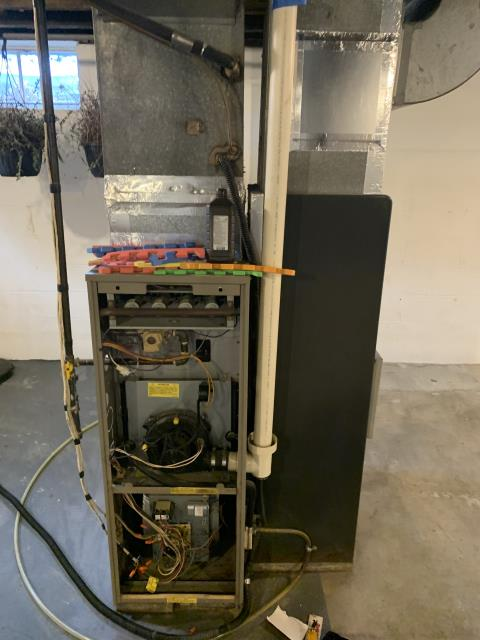 Heath, OH - Upon arrival for service call on 1995 Goodman furnace, I found circuit board and igniter is bad. Customer opted to get full system replaced.