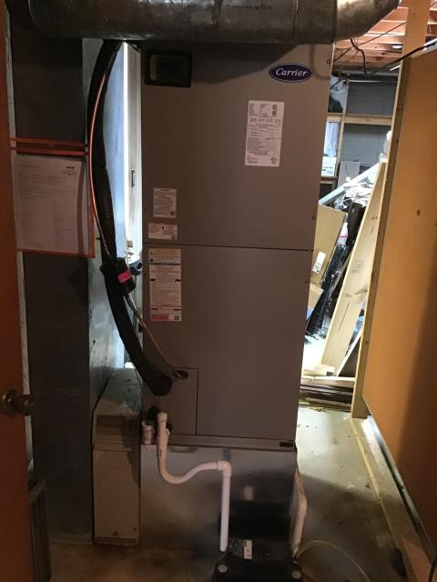 """Johnstown, OH - I performed a tune up and safety check on a Carrier """"Infinity Series"""" Variable Speed 3 Ton Electric Furnace / Fan.  Everything was clean and in proper working order according to manufacturer's specifications."""