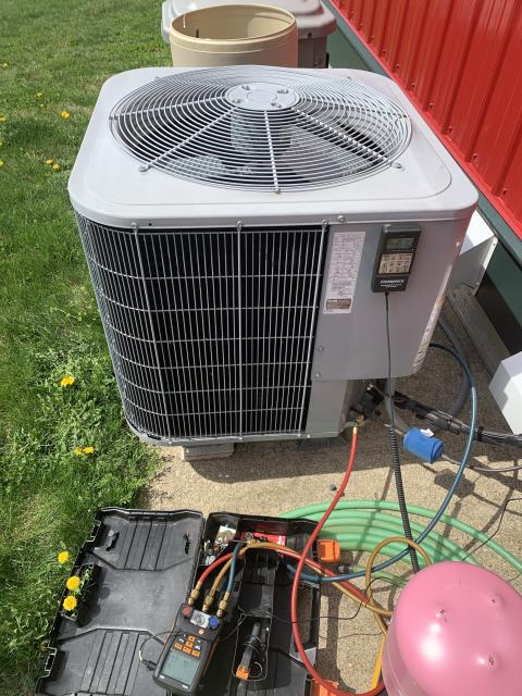 Utica, OH - I originally came out to perform a diagnostic service call on a Carrier heat pump . Upon arrival I noticed some parts needed to be replaced, the Schrader Valve and the Refrigerant R-410A Puron. I then returned to complete job with a final repair, which was the Braze repair. Upon departure system is operational.