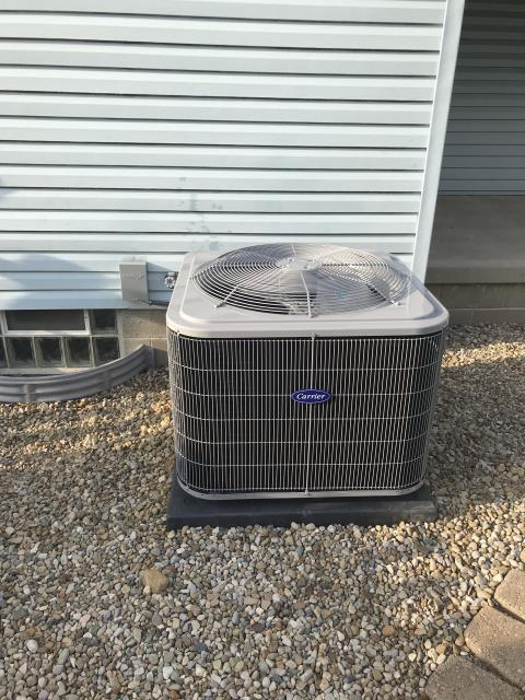 Johnstown, OH - I performed a tune-up on a Carrier air conditioner. Upon arrival I went through my tune-up checklist, I removed the humidifier pad due to calcium build up, and I cleaned carriage.  I recommended customer to replace pad. Upon departure system is operational.