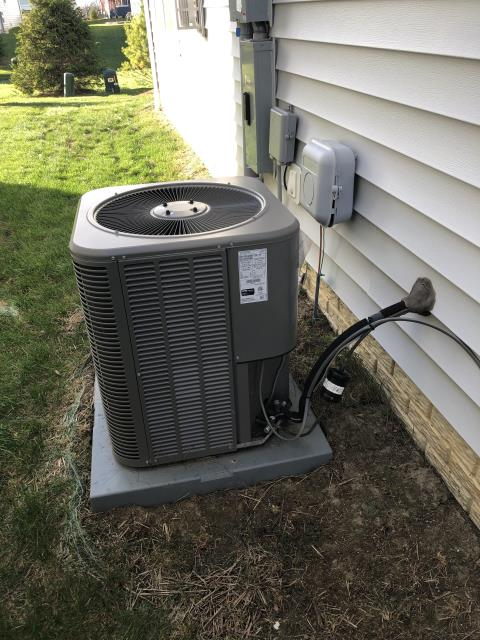 Pickerington, OH - I performed a scheduled maintenance agreement tune-up on a Lennox air conditioner. Upon arrival customer asked me to move thermostat 3ft to the right, which I was able to do. Upon departure system is cooling properly and operational.