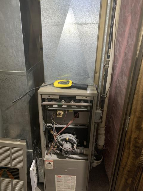 Thornville, OH - I performed a diagnostic service call on a GoodMan gas furnace. Upon arrival I found a propane leak, this unfortunately is not one of our services. I highly recommend customer call someone to come out for that leak soon as possible. I will be returning to perform a tune-up and cleaning on unit.