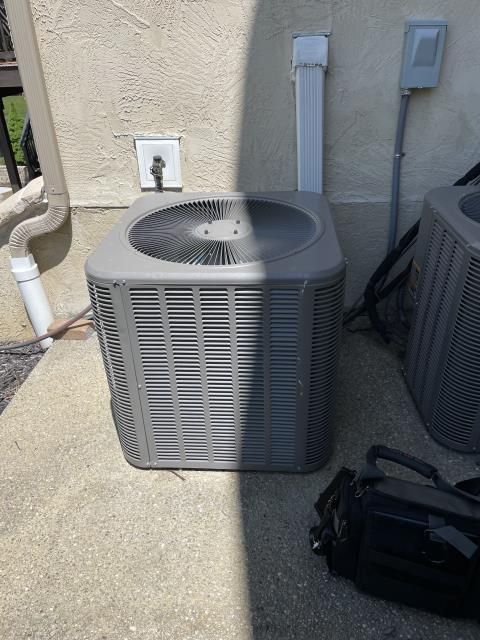 Pickerington, OH - I completed a scheduled maintenance agreement tune-up on a Lennox air conditioner heat pump, this is the 2nd job of the original tune-up. Upon arrival I noticed the unit had a low charge on 410A, I then added about 1 1/2lbs of refrigerant. I retested the system and got new readings, all reading are within manufacturing specifications at this time. Upon departure system is cooling properly and fully operational.