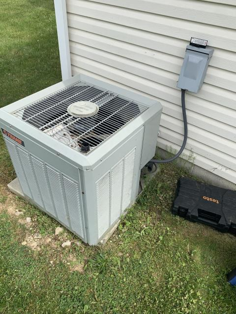 Johnstown, OH - I completed a diagnostic service call on a Trane heat pump. I determined that the Fan Motor, Capacitor and Fan Blade all needed to be replaced. I recommended replacing the unit due to the age and condition of the unit.
