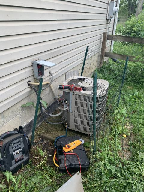 Thornville, OH - I completed a diagnostic service call on an Goodman air conditioner. I determined that the unit was overcharged, needing a replacement capacitor and the coils needing cleaned. I replaced capacitor, cleaned coils, and cycled. The unit is functioning upon departure.
